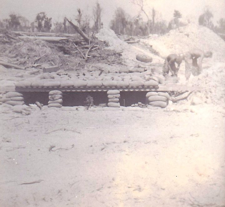 Engineers sandbagging a three-man bunker at Thien Ngon. Photo by Juan Moreno And this is what the camp looked like finished in 1968: