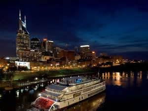 Nashville skyline with the General Jackson Riverboat